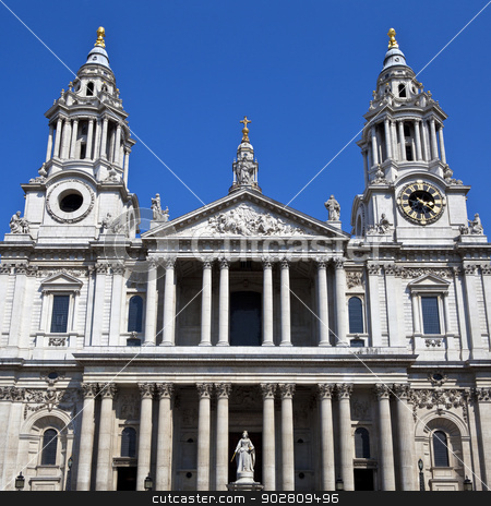 St. Pauls Cathedral in London stock photo, The front of St. Pauls Cathedral in London. by Chris Dorney