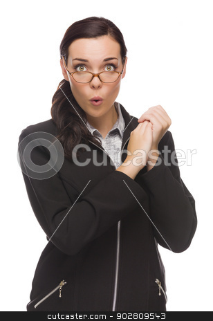 Funny Faced Mixed Race Businesswoman Holding Her Hands to Side stock photo, Funny Faced Mixed Race Businesswoman Holding Her Hands to the Side Isolated on a White Background. by Andy Dean