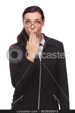 Surprised Mixed Race Businesswoman Puts Hand Over Her Lips  stock photo, Surprised Mixed Race Businesswoman Puts Hand Over Her Lips Isolated on White Background.  by Andy Dean