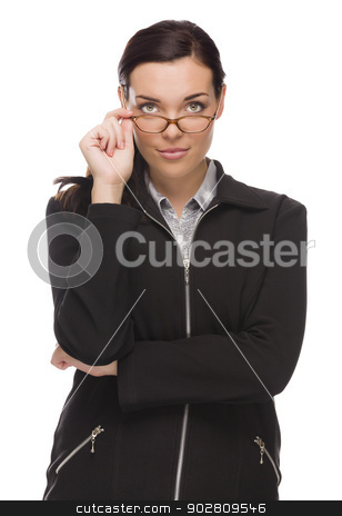 Confident Mixed Race Businesswoman Touching her Glasses stock photo, Confident Mixed Race Businesswoman Touching her Glasses Isolated on a White Background.  by Andy Dean