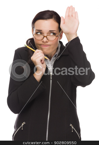 Timid Mixed Race Businesswoman Raises Her Hand to Ask Question  stock photo, Timid Mixed Race Businesswoman With Pencil Raises Her Hand to Ask a Question Isolated on a White Background.  by Andy Dean