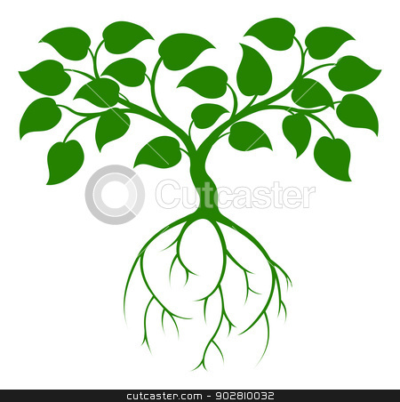 Green tree stock vector clipart, An illustration of a green tree graphic with long roots by Christos Georghiou