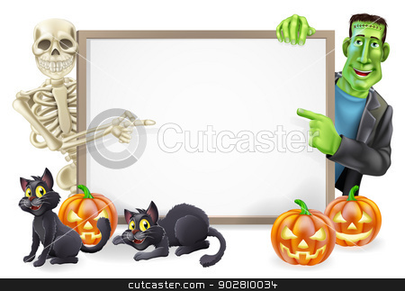 Halloween Sign with Skeleton and Frankenstein stock vector clipart, Halloween sign or banner with orange Halloween pumpkins and black witch's cats, witch's broomstick and cartoon Frankenstein monster and skeleton characters  by Christos Georghiou
