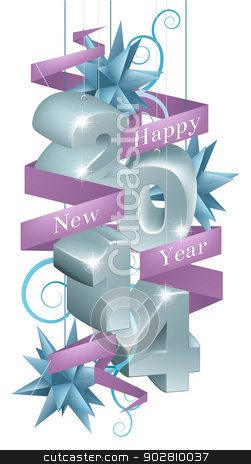 Blue Happy New Year 2014 Ornaments stock vector clipart, Blue and silver happy new year 2014 ornaments with a purple ribbon reading happy new year by Christos Georghiou