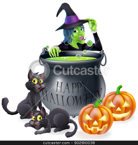 Halloween Cartoon Witch Scene stock vector clipart, Halloween cartoon witch scene with a witch, her black cats, Happy Halloween cauldron and pumpkins. by Christos Georghiou