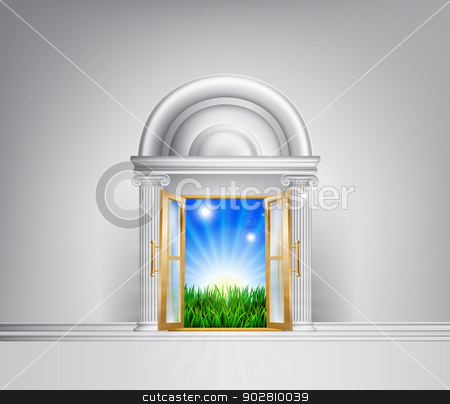 Sunrise over fields through grand entrance stock vector clipart, Conceptual illustration of a sunrise over fields through a grand entrance. Could be used in a self help or motivational concept or to represent hope for the future and lifestyle changes.  by Christos Georghiou
