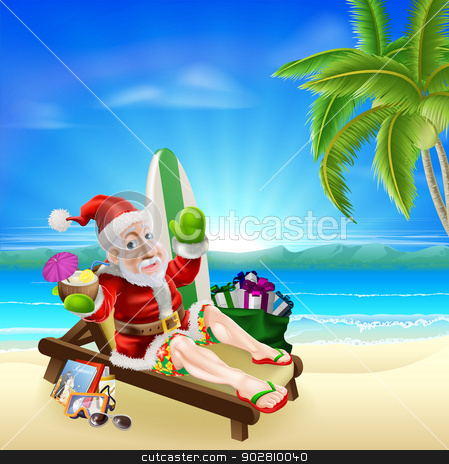 Christmas Santa Tropical Beach Scene stock vector clipart, Christmas illustration of summer Santa relaxing in on the beach under a coconut tree with surf board, gift sack and other holiday items with a drink and wearing board shorts and flip flop sandals. by Christos Georghiou