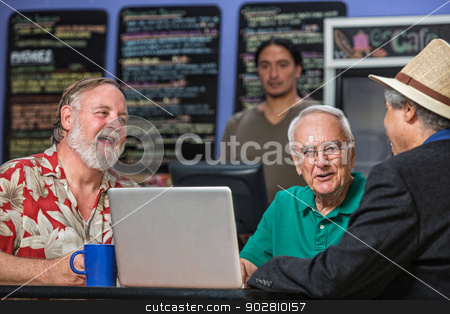 Laughing People in Cafe with Laptop stock photo, Laughing people in a coffee house with laptop by Scott Griessel