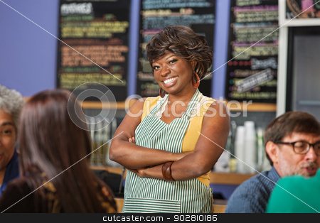 Confident Cafe Worker stock photo, Confident African woman working at a coffee house by Scott Griessel