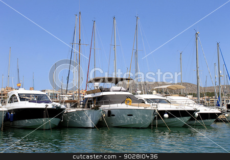Boats moored in Alcudia harbor stock photo, Boats moored in Alcudia harbor on island of Majorca, Spain. by Martin Crowdy