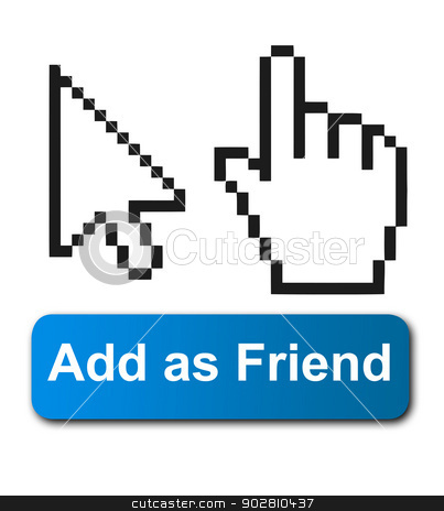 Cursor hands and social media button stock photo, Cursor hands and social media button isolated on white background. by Martin Crowdy