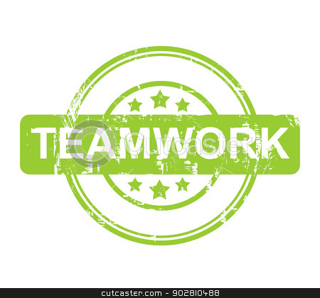 Green teamwork stamp with stars stock photo, Green teamwork stamp with stars isolated on a white background. by Martin Crowdy