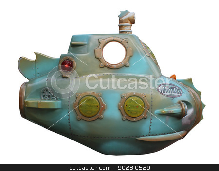 Mini submarine stock photo, Mini submarine isolated on white background. by Martin Crowdy