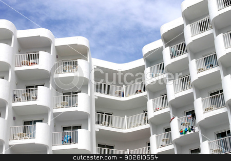 Modern white tourist hotel stock photo, Modern white tourist hotel on island of Majorca, Spain. by Martin Crowdy