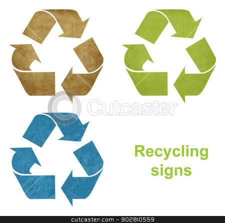 Set of grunge recycling signs stock photo, Set of grunge recycling signs in blue, green and brown with white background. by Martin Crowdy