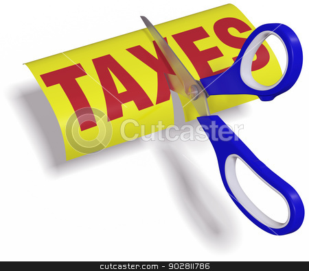 Scissors cut high unfair Taxes stock photo, Pair of scissors cuts unfair too high taxes in half with clipping path by Michael Brown