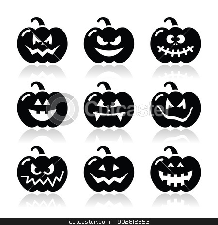 Halloween pumkin vector icons set stock vector clipart, Celebrating halloween - pumpkin with scary faces icons set isolated on white by Agnieszka Murphy