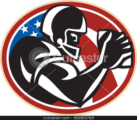 American Football Wide Receiver Ball stock vector clipart, Illustration of an american football gridiron wide receiver running back player running with ball facing side set inside oval with stars and stripes flag done in retro style set inside ball . by patrimonio
