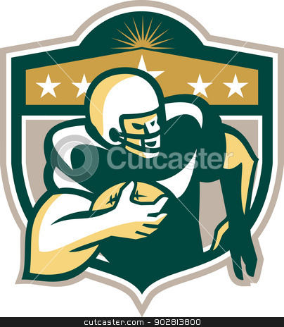American Gridiron Wide Receiver Running stock vector clipart, Illustration of an american football gridiron wide receiver running back player running with ball facing side set inside shield with stars done in retro style on isolated background. by patrimonio