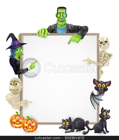 Halloween Sign Background stock vector clipart, Halloween sign or banner with orange Halloween pumpkins and black witch's cats, witch's broom stick and cartoon mummy, Frankenstein, bat, skeleton and witch characters  by Christos Georghiou