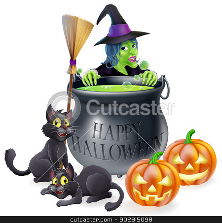 Happy Halloween Witch and Cauldron stock vector clipart, An illustration of a cartoon witch with cats, pumpkins and bubbling cauldron filled with green witch's brew by Christos Georghiou