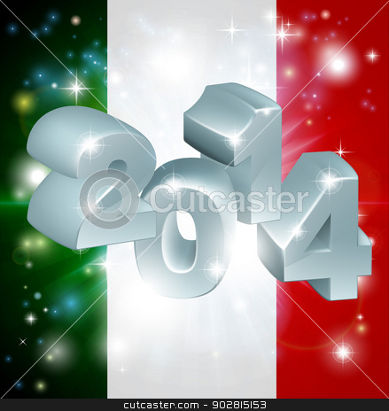 2014 Italian flag stock vector clipart, Flag of Italy 2014 background. New Year or similar concept by Christos Georghiou