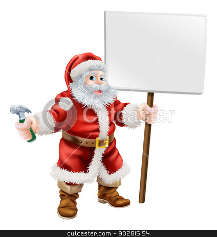 Santa holding hammer and sign stock vector clipart, Cartoon illustration of Santa holding a spanner and sign, great for construction business, carpenter or hardware shop Christmas sale or promotion by Christos Georghiou