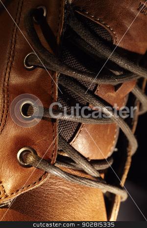 Lacing shoe. stock photo, Lacing leather shoe, macro shot. by danr13