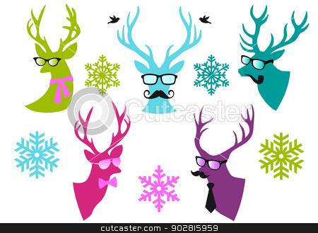 Christmas deer heads, vector set stock vector clipart, Christmas deer  heads with mustache and spectacles, set of vector design elements by Beata Kraus