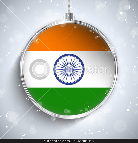 Merry Christmas Silver Ball with Flag India stock vector clipart, Vector - Merry Christmas Silver Ball with Flag India by Augusto Cabral Graphiste Rennes