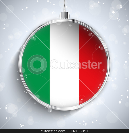 Merry Christmas Silver Ball with Flag Italy stock vector clipart, Vector - Merry Christmas Silver Ball with Flag Italy by Augusto Cabral Graphiste Rennes