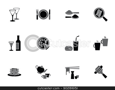 Collection of food and beverage icons stock vector clipart, Collection of food and beverage icons depicting wine, coffee, tea, soda, takeaway foods, pizza, hamburger and bacon in a frying pan by Matthew Post