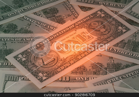 Dollars money stock photo, Background with American dollar bills with mysterious light by CaptureLight
