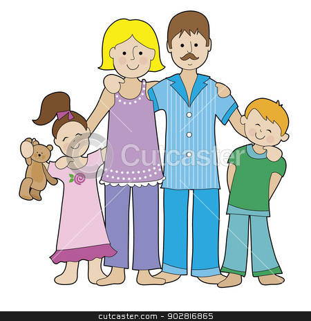 Family in Pajamas stock vector clipart, A family of four is dressed in their pajamas. There is a boy and a girl, a Mom and a Dad by Maria Bell