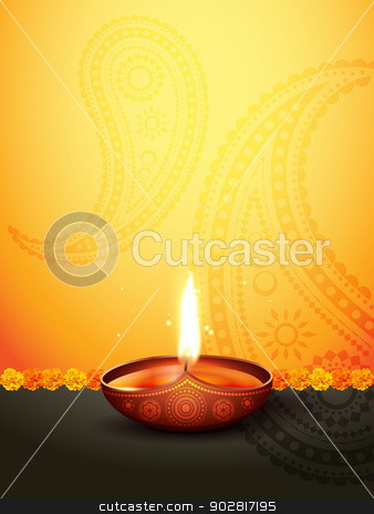 diwali greeting stock vector clipart, beautiful diwali greeting with space for your text by pinnacleanimates