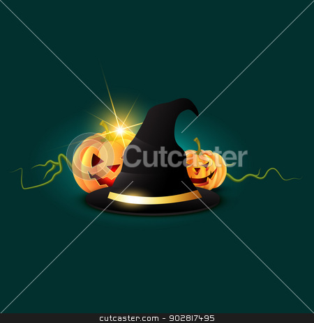 halloween night stock vector clipart, halloween night design with hat by pinnacleanimates
