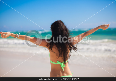Back view of Young adorable woman enjoying the holiday spread her hands on a white, tropical beach stock photo, Back view of Young adorable woman enjoying the holiday spread her hands on a white, tropical beach by Dmitry Travnikov