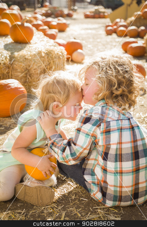 Sweet Little Boy Kisses His Baby Sister at Pumpkin Patch stock photo, Sweet Little Boy Kisses His Baby Sister in a Rustic Ranch Setting at the Pumpkin Patch.  by Andy Dean