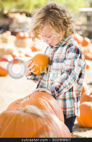 Little Boy Holding His Pumpkin at a Pumpkin Patch stock photo, Adorable Little Boy Sitting and Holding His Pumpkin in a Rustic Ranch Setting at the Pumpkin Patch.  by Andy Dean