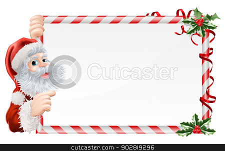 Christmas Santa Claus Sign stock vector clipart, Christmas Santa Claus Sign illustration with Santa peeping round a sign decorated with Christmas Holly sprigs by Christos Georghiou