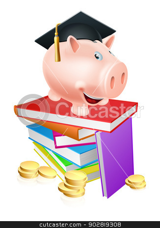 Education provision concept stock vector clipart, An education provision financial concept of a piggy bank in a mortar board academic cap standing on a stack of books with gold coins.  by Christos Georghiou