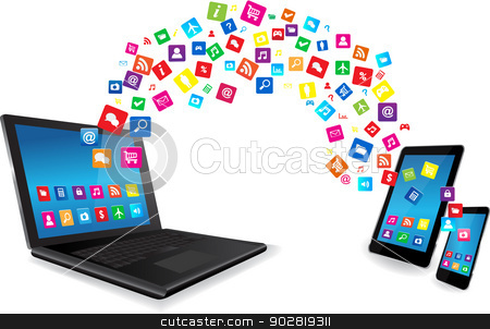 Laptop, Tablet PC and Smart Phone with Apps stock vector clipart, Modern communication technology illustratiom.Laptop, Tablet Pc and Smart Phone with apps  by monicaodo