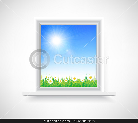Plastic window stock photo, Plastic window with a view of the chamomile field by sermax55