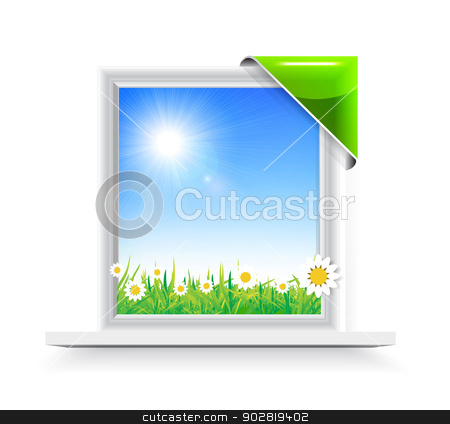 Plastic window with badge stock photo, Plastic window with badge with a view of the chamomile field by sermax55
