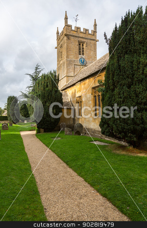 Old church in Cotswold district of England stock photo, Parish church of Stanway and Stanton in Cotswold or Cotswolds district of southern England in the autumn. by Steven Heap