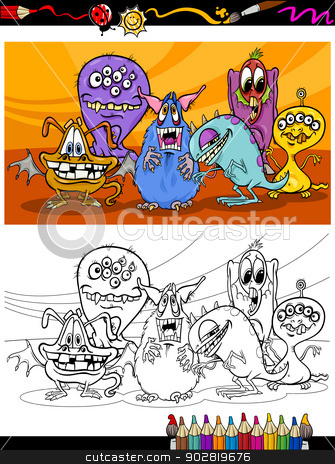 cartoon monsters group coloring page stock vector clipart, Coloring Book or Page Cartoon Illustration of Black and White Monsters Characters Group for Children by Igor Zakowski