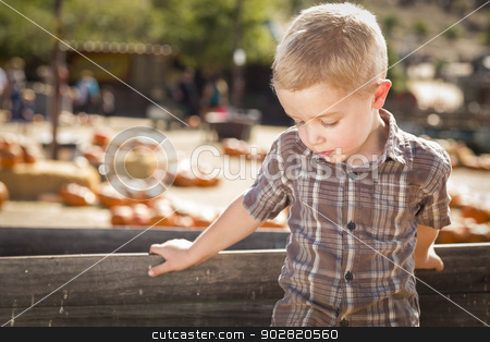 Sad Boy at Pumpkin Patch Farm Standing Against Wood Wagon stock photo, Adorable Sad Little Boy at Pumpkin Patch Farm Standing Against Old Wood Wagon.  by Andy Dean