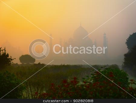 Ancient Taj Mahal mausoleum in Agra, India stock photo, Ancient marble Taj Mahal mausoleum in Agra, India by Alexey Romanov
