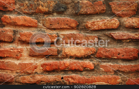 Red brickwork close-up stock photo, Red old grunge brickwork close up by Alexey Romanov