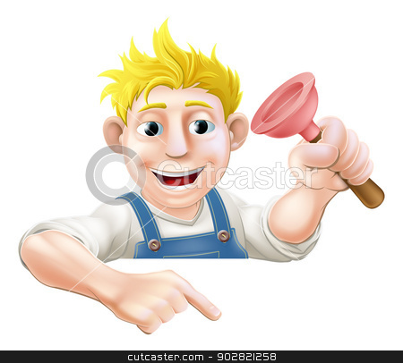 Cartoon plunger man pointing down stock vector clipart, A cartoon plumber with a rubber plunger peeking over a sign or banner and pointing at it by Christos Georghiou